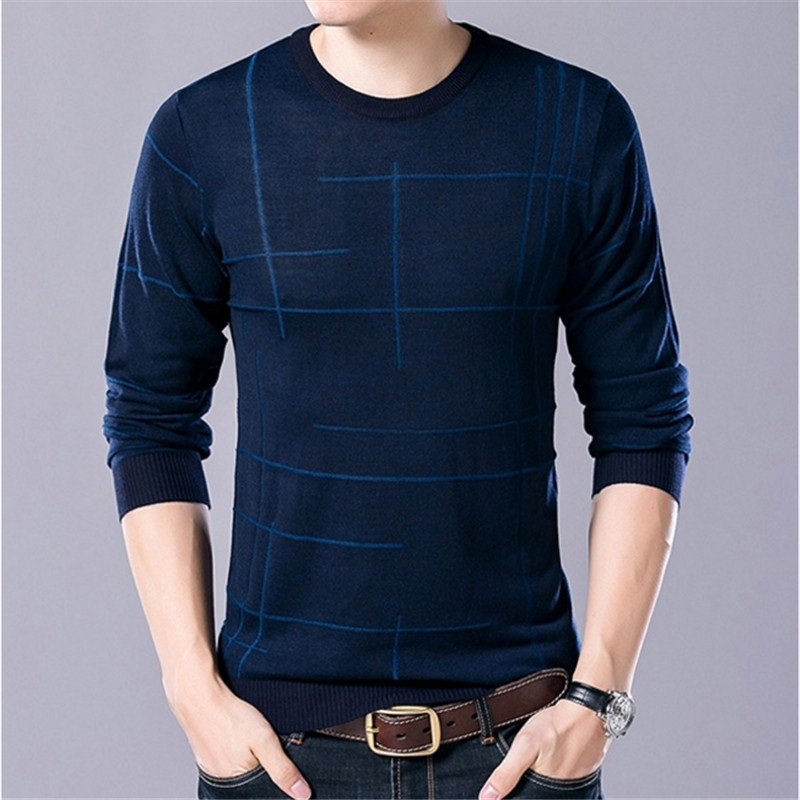 Male Pull Homme Spring Autumn New Men Sweater Casual O-Neck Cotton Pullover Brand Clothing Knitted Fashion Stylish Sweater