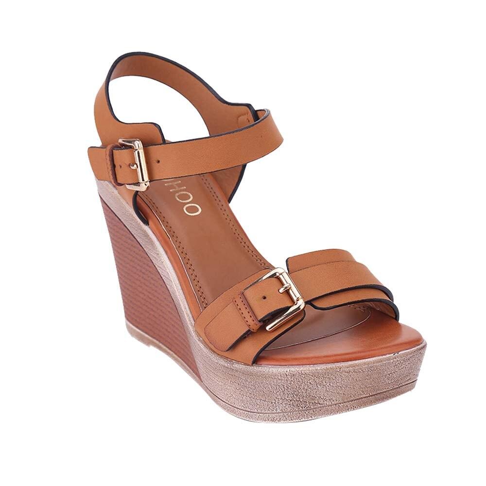 Correa Heyiyi Las Color Camel Cuñas Zapatos Tacón Hebilla Sandalias Mujeres Alto Ajustable Plataforma Azul Señoras Moda De E2I9HD