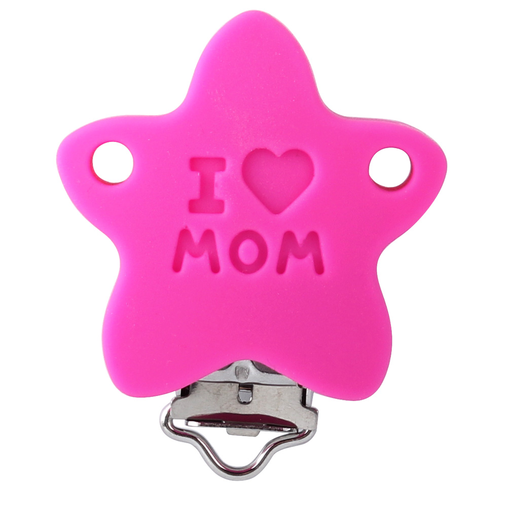 Keep&Grow 20Pcs Pacifier Clips Star Stainless Nipple Clasps BPA Free Silicone Beads Baby Teething Necklace DIY Tool Accessories