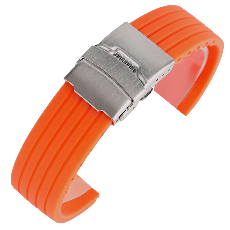 Ourdoor Waterproof Soft Orange Silicone Rubber Watch Band 20mm 22mm 24mm Strap Military Folding Clasp Bracelet Unisex Boys Girls