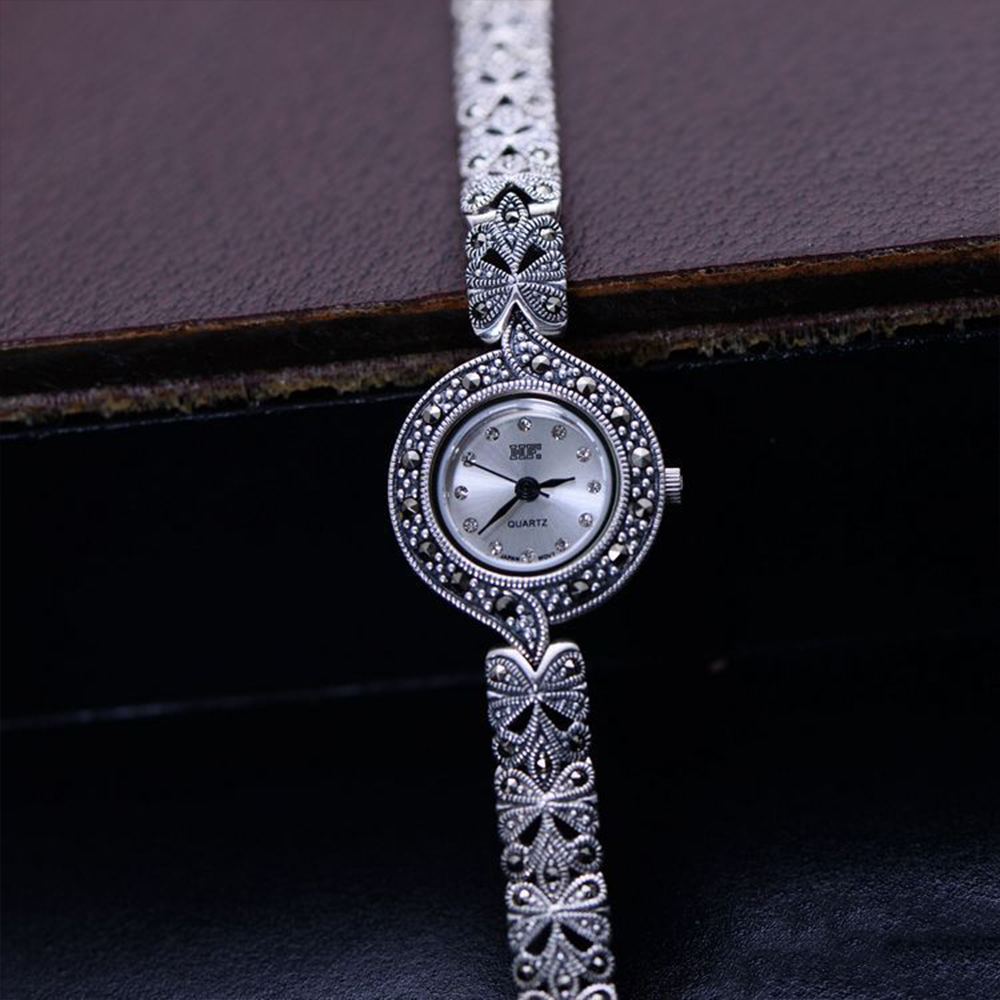 MetJakt Vintage Pure Handmade Bracelet Watch with Zircon Solid 925 Sterling Silver Bracelet for Women s