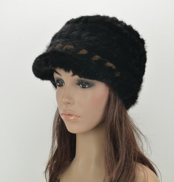 HA127-Fashion knitted warm cap with natural mink fur, Luxury little brim gray brown autumn winter fur hats female