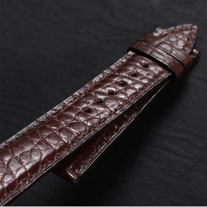 Image 2 - High end Crocodile Alligator Leather Watch Band Strap Replacement Deployment Double Push Buckle for Luxury Watches 20 22 24mm