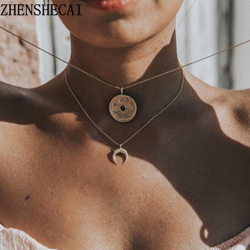 22 стиля, богемное ожерелье для женщин, Ретро стиль, золотая, серебряная цепочка, длинная луна, массивное ожерелье, подвеска, богемное ювелирное изделие, подарок девушке - Окраска металла: 77