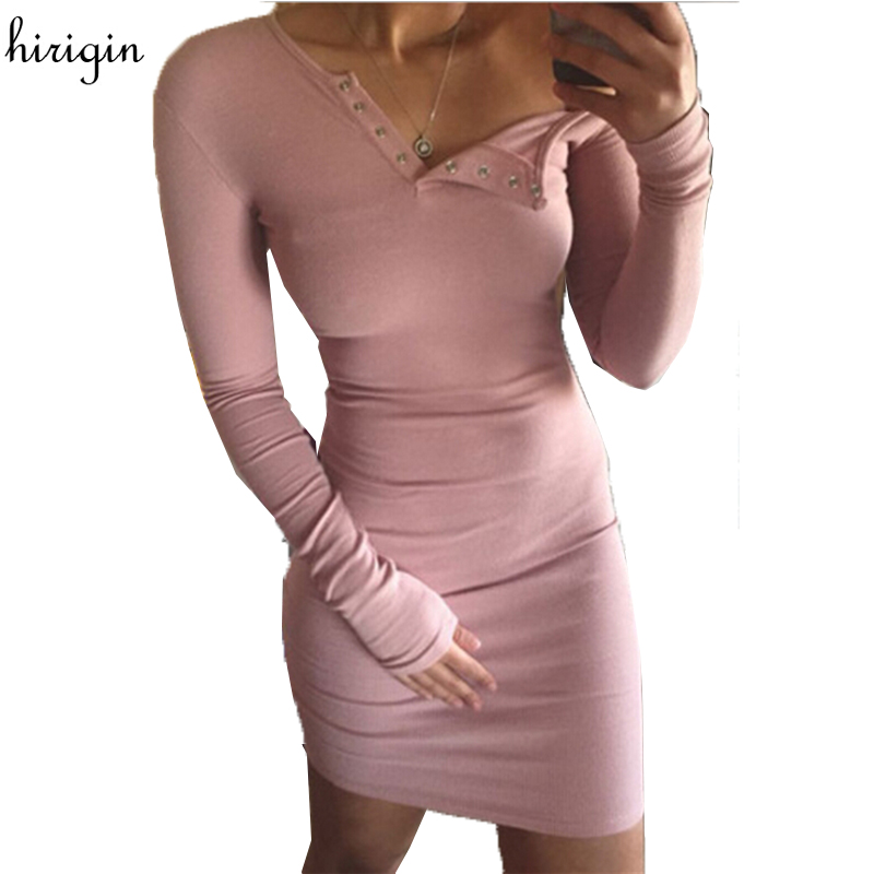Autumn Winter Women Knitted Dress 2017 Button V-Neck Long Sleeve Sexy Pencil Dress Slim Bodycon Party Vestidos Sweater Dresses