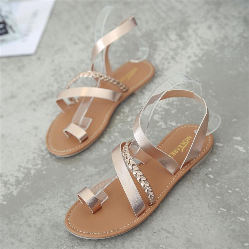 Women Summer Strappy Gladiator Low Flat Heel Flip Flops Beach Sandals Shoes female Shoes Beach Sandals Casual Shoes sandalias mokingtop womens sandals flat women vintage cross strap summer roman gladiator strappy shoes flat heel shoes
