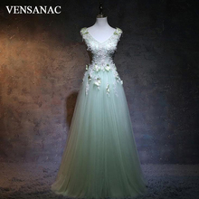 VENSANAC A Line Crystals Sequined Long Evening Dresses V Neck 2018 Elegant Butterfly Lace Appliques Party Prom Gowns