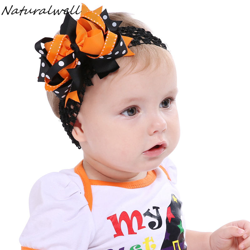 Naturalwell Baby Girls Halloween Bows Orange And Black Hair Bows Toddler Headband Big Bows Girls Oversize Bows Photo Prop HB591