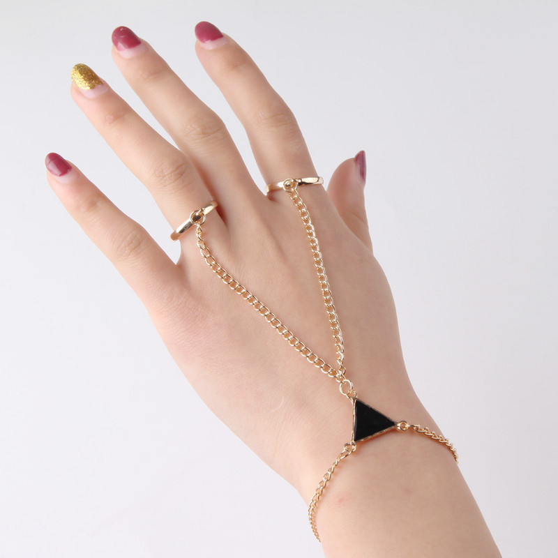 Women Punk Finger Ring Bracelet Triangle Conjoined Bracelet Hand Back Chain Jewelry