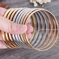 9pcs/set 70mm Inner New Jewelry 316L Stainless Steel Silver Gold Rose Gold Plated Noble Lady Shiny Women's Bracelet Bangle