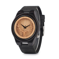 BOBO BIRD B18 Deear Head Japan Movement Quartz Wooden Watches Antique Watch With Genuine Cowhide Leather