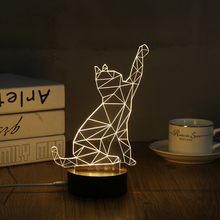 3D LED Night Light Acrylic Geometry Cat LED Night Light Touch Switch Colorful Gradient Novelty Lighting Table lamp Home Decor