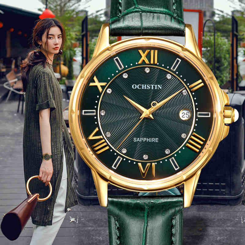 ФОТО OCHSTIN New Fashion Women Watches Luxury Diamond Leather Calendar Waterproof Quartz-Watch Relojes Mujer 2017 Marca De Lujo Clock