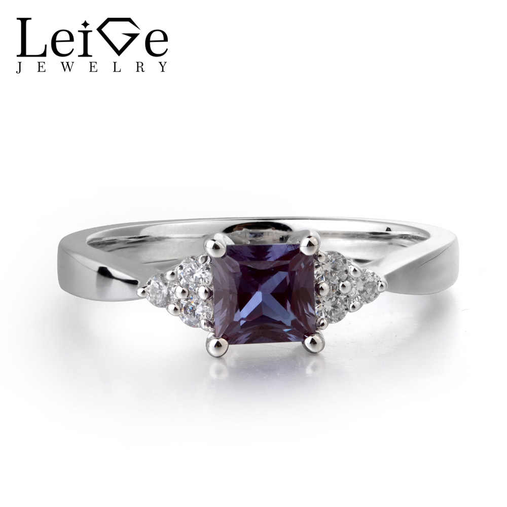8197215675 Leige Jewelry Lab Alexandrite Color Changed Gemstone Princess Cut Party  Ring For Woman June Birthstone 925 Sterling Silver