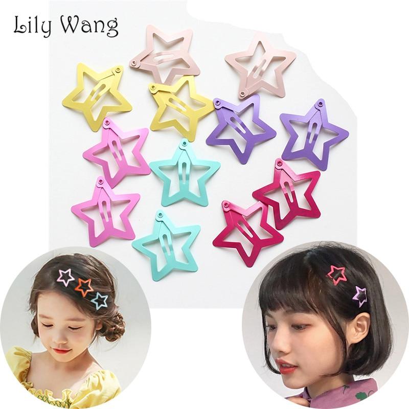 32mm Star Shape Metal Children Snap Hair Clips Barrettes Girls Cute Hair Bobby Pins Hair Accessories Kids Candy Color Hairpins