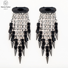 Warme Farben Black Korea Style Women Drop Earrings Zircon Silver Crystal Jewelry Earring Hyperbole Party Gifts