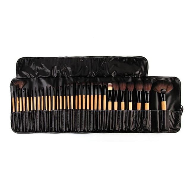 Nuevo 32 UNIDS Pro Kit de Cepillo del Maquillaje Cepillos Cosméticos Cepillos De Madera en Caja de la Bolsa