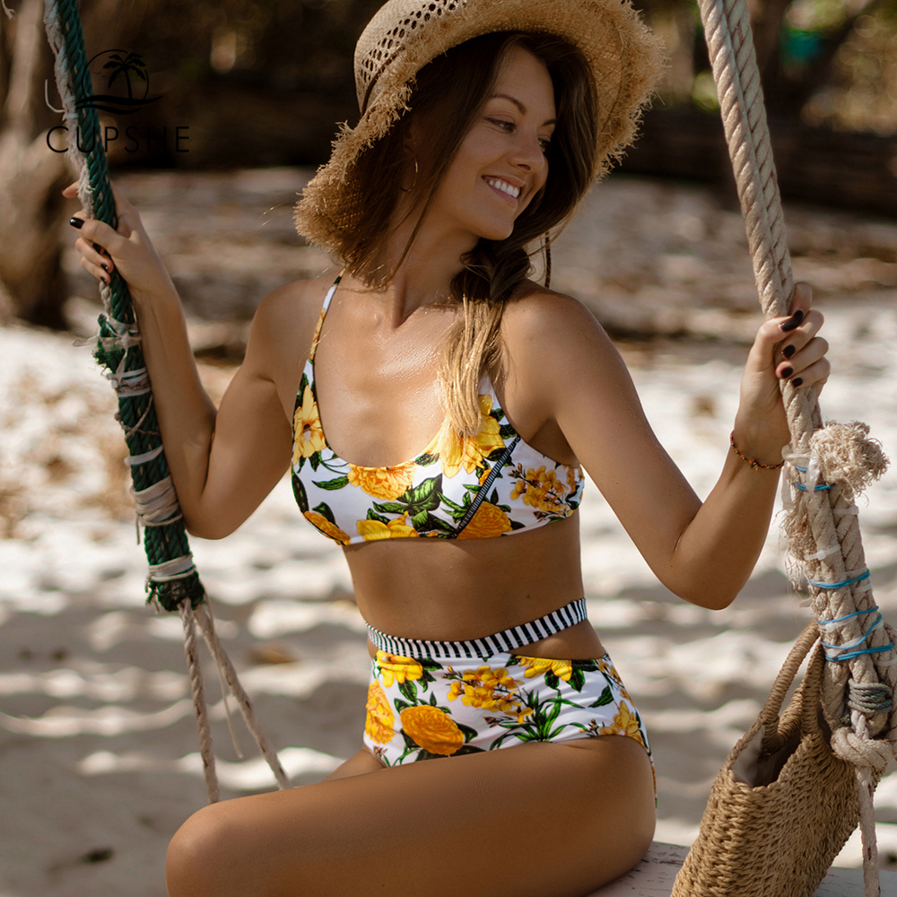 CUPSHE Sexy Yellow Floral Paradise High-waisted Bikini Sets Women Cutout Two Pieces Swimsuits 2020 Girl Beach Bathing Suits