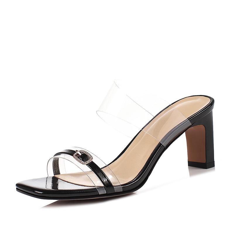 Transparent Sandales Tlc3fk1j Verni Noir Mules Cuir De D'été Chaussures 1Jc3uTlKF