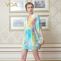 VOA 2017 Summer New Silk Chiffon V neck Short Sleeve Casual T Shirt Fashion Graffiti Plus Size Loose Print Women Tops B6983