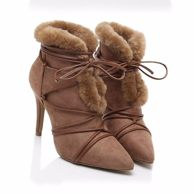 2016 stylish pigskin black camel color ladies sexy short boots rabbit hair  pointed toe stiletto heels