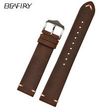 BEAFIRY Hot Brown Vintage Crazy Horse Genuine Leather 18mm 20mm 22mm Watch Band Calfskin Strap for Men Women  Belt