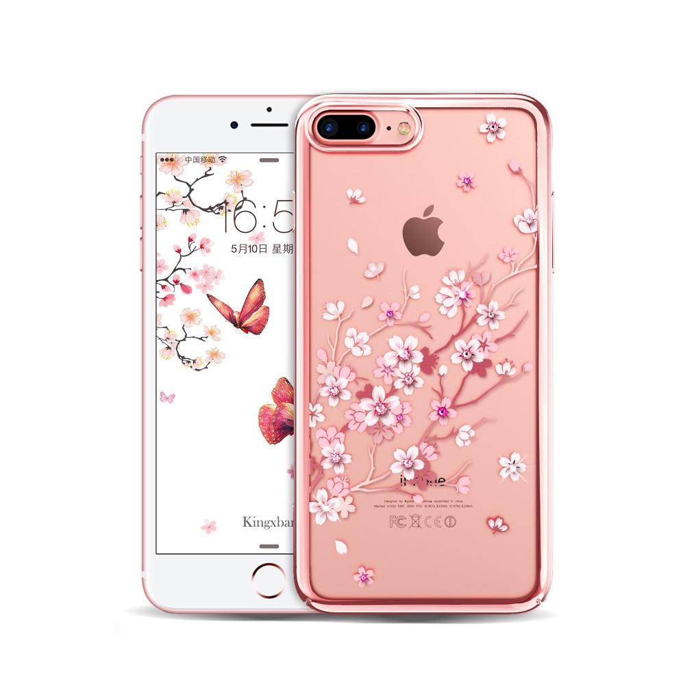 imágenes para Diamante Flor Sakura Patrón Claro Cajas Del Teléfono para el iphone de Apple 7 Cubierta de La Caja Capa Transparente Rhinestone de La Cereza