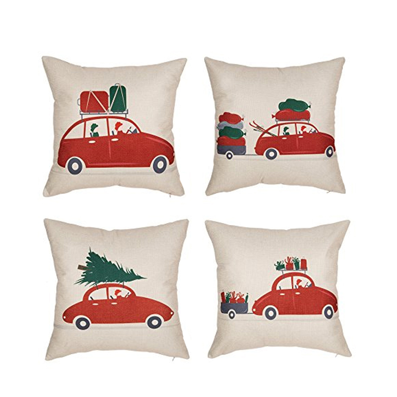 Set of 4 Christmas Red Vintage Home Decorative Throw Pillow Case Cushion Cover for Sofa Couch, 18 x 18