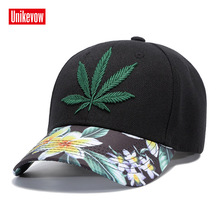 UNIKEVOW 3D Embroidery Baseball Cap Leisure Summer Sport For Men And Women Leaf Hats