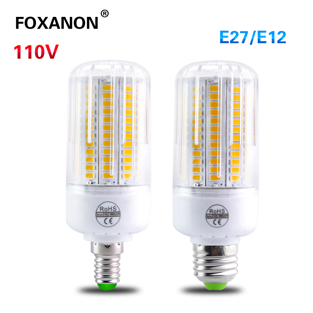 foxanon high lumen chip e27 e12 led corn bulb light 110v 24 30 42 64