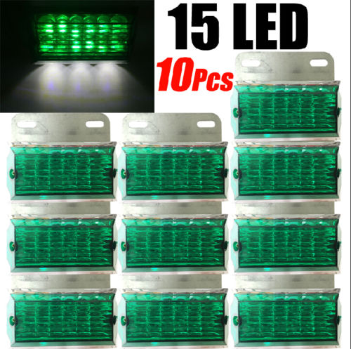CYAN SOIL BAY 10pcs 15-LED Green LED Side Marker Cab Light Clearance Bulb Truck Bus Trailer Caravan Boat SUV ATV 24V cyan soil bay truck trailer side fender marker clearance light chrome bezel 3 led dc 10 30v red