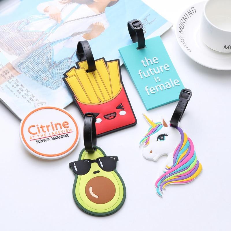 Cute Cartoon Unicorn Avocado Suitcase Luggage Tag Travel Accessories ID Address Holder Women Baggage Label Organizer Silica Card