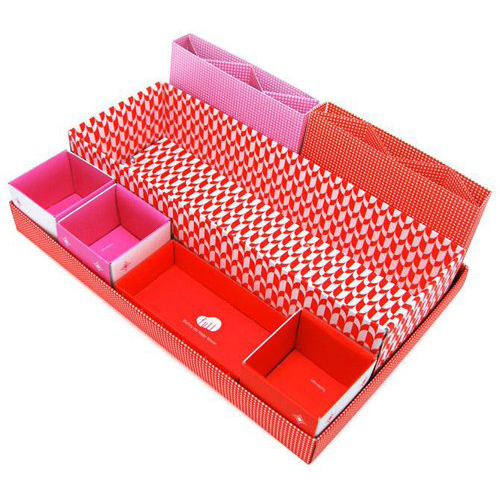 Boutique Red DIY Cute Desktop Desk Table Organiser Storage Stationery Makeup Box In Box