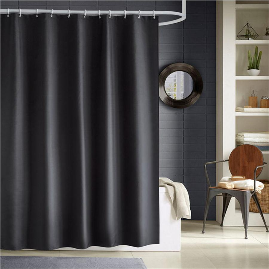 Home Polyester Fabric Cloth Solid Color Black White Gray Navy Red Blue Cheap Bathroom Mildew Resistant Shower Curtain Liner