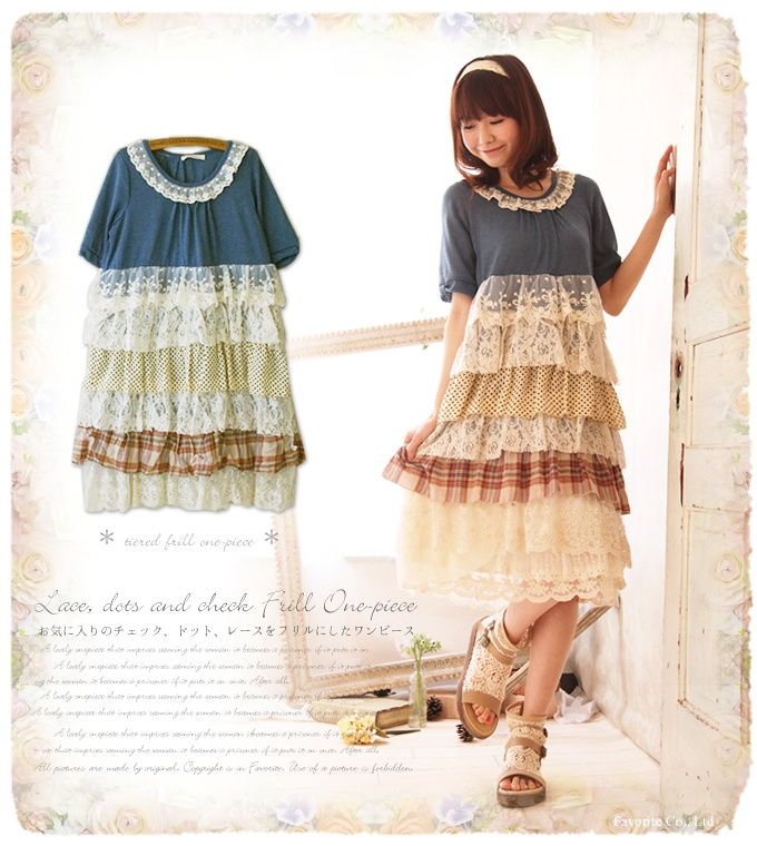 Lolita Style Mori Girl Lace Dress Multi Layer Lace Ruffle Patchwork Vintage Women Summer Dress Casual