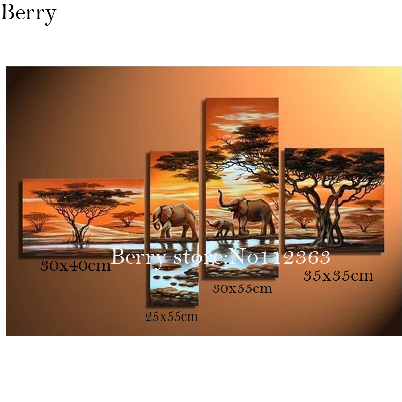 diy 4pcs set diamond painting cross stitch painting full square drill embroidery rhinestones painting sunset and