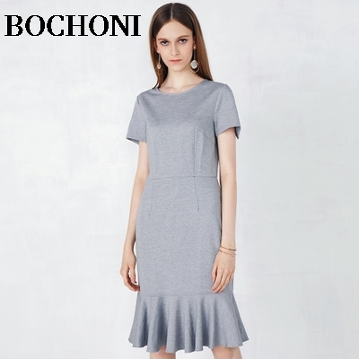 2018 Bochoni new Fashion small fresh dress slim fishtail dress