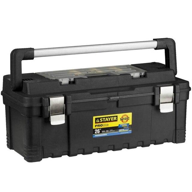 Ящик для инструмента STAYER 38003-26 (Металлические замки, съемный органайзер в крышке ящика, съемная внутренняя полка,изменение размеров отделений, надежная алюминиевая рукоятка)