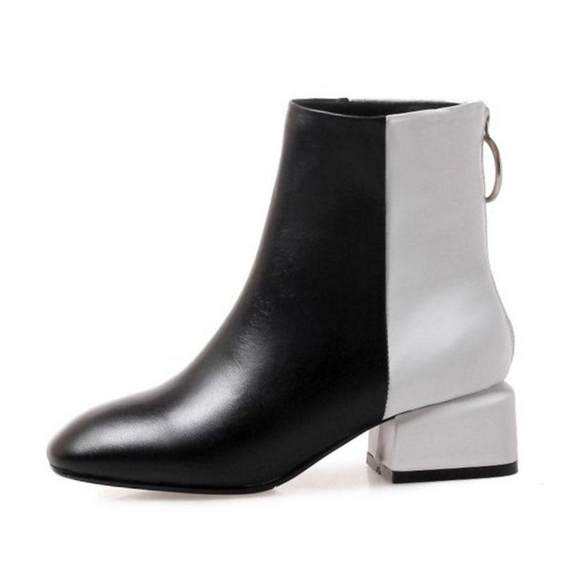 Botas Mujer De blanco Genuino Color Negro Kemekiss Moda Zapatos Invierno Mixto Tamaño Cortas Cuero 33 43 q0UUtwIX
