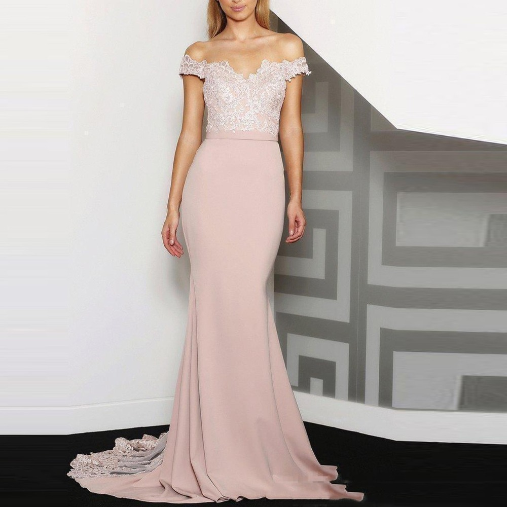 Elegant Nude Pink Lace Mermaid Prom Gowns Appliques Long Formal Dresses For Bridesmaid -9411