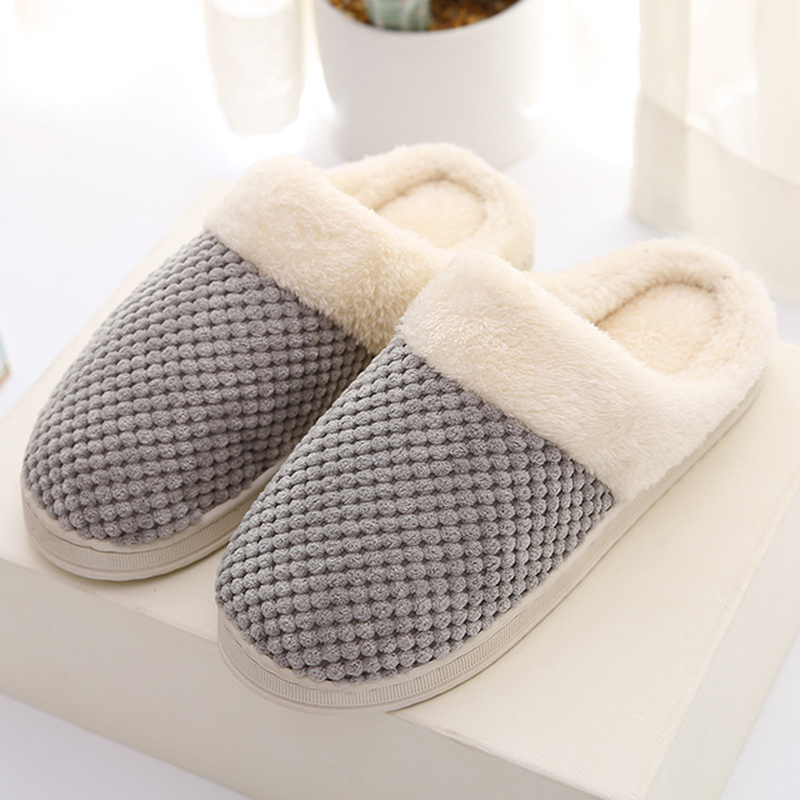 indoor home warm cotton slippers winter men and women couple wooden floor slip home cotton shoes cotton slippers