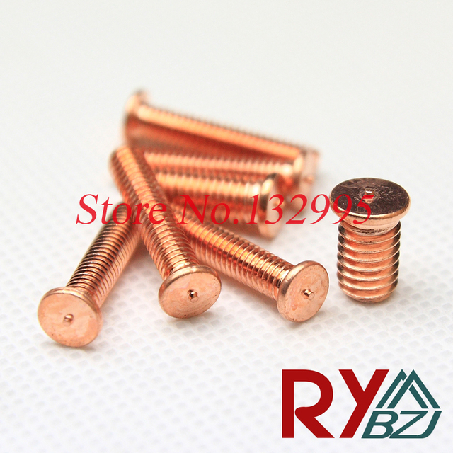 100pcs/lot  M3 M4 M5 M6  Carbon steel copper plated welding screws ISO13918 DIN32501 spot welding studs welding screw
