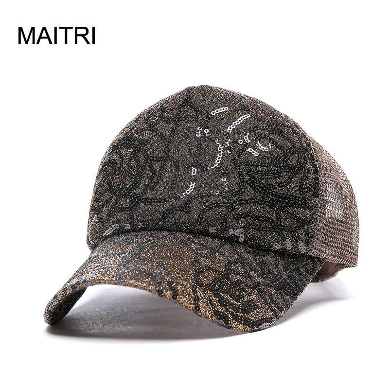 MAITRI 2017 Women Baseball Cap Fashion Shining Powder Girl Women Mesh  Summer Hat Nets Ventilated Snapback Caps Mesh Sun hats 7923f68bf4a