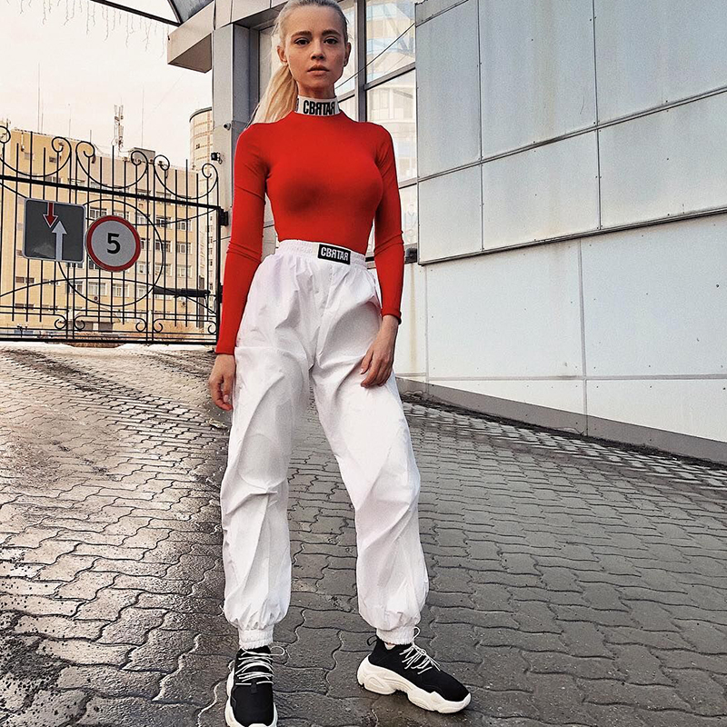 Streetwear Harem   Pants   Women Casual Joggers White High Waist Loose Female Trousers Korean Style Ladies   Pants   Punk   Capri