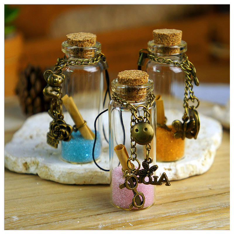 3pcs colour sand drift bottle mini clear cork stopper diy