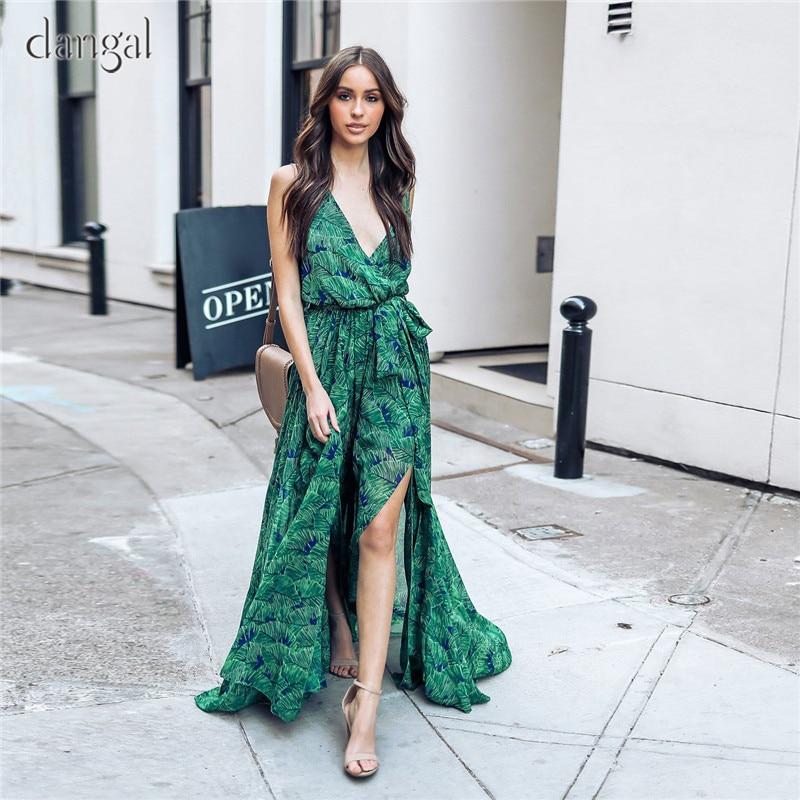 Sexy Bohemian Dress Floor Length Dress Summer Dress 2018 Gree Floral Print V-Neck Chiffon Dresses Sashes Side Split