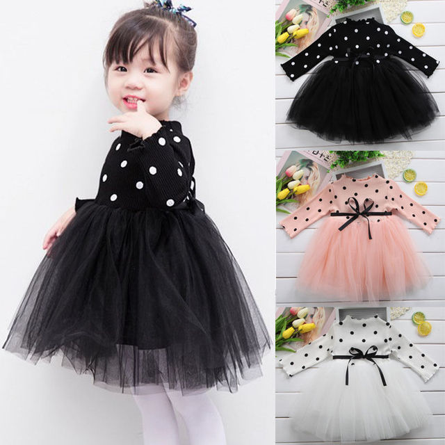 823a738bed7d0 Cute Kids Baby Girls Knitted Dresses White Black Pink Princess Long Sleeve  Dot Lace Tutu Dress Ball Gown Dress Clothes Autumn