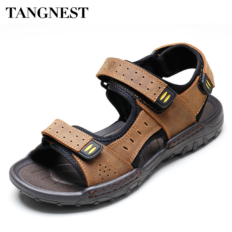 Tangnest Summer Men Sandals Split Leather Hook Loop Gladiators Breathable Casual Beach Sandals Comfortable Men Shoes XML242