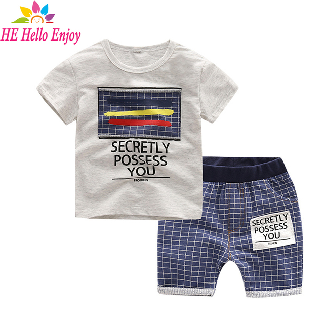 HE Hello Enjoy boy clothes kids summer 2017 toddler boys clothing fashion brand short sleeves letter t-shirt+plaid shorts suit