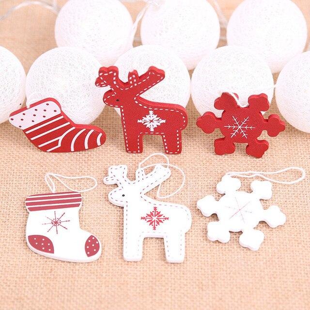 Us 459 Aliexpresscom Buy 10pcs Diy Navidad Mini Wood Elk Snowflake Shoe Pendants Christmas Decorations For Home Christmas Tree Decorations New